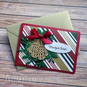 kartki świąteczna kartka ii, święta, boże narodzenie, rękawiczki, ostrokrzew
