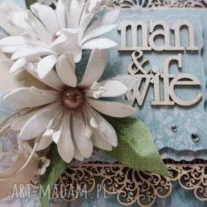 ręcznie zrobione scrapbooking kartki mąż & żona - kartka w pudełku