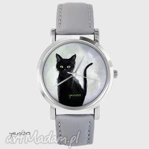 Prezent Zegarek, bransoletka - Czarny kot szary, skórzany, zegarek,