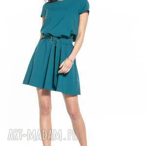 sukienki elegancka sukienka mini ściągnięta w talii, t333, szmaragd