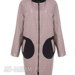 bien fashion przejściowy nowoczesny płaszcz damski oversize xs, oversize, stójka