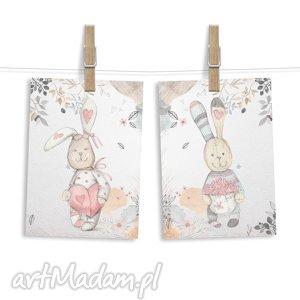 pokoik dziecka zestaw 2 obrazków zajączki a3, zajączki, zając, króliczek, królik