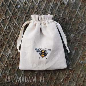 Woreczek lniany z pszczółką zapetlona nitka woreczek, len