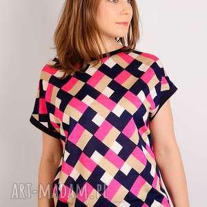 wełniana bluzka z dzianiny s/m, kolorowa, geometryczny, romby, kwadraty, jersey