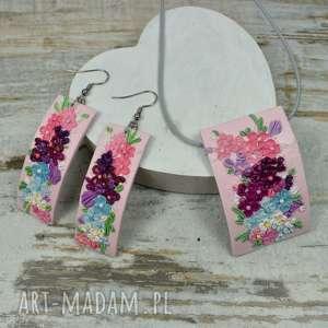 Prezent Wiosenny komplet biżuterii z kwiatuszkami, kolorowa-biżuteria