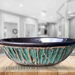dom majestic - artystyczna umywalka nablatowa ze złotą strukturą, ekskluzywna