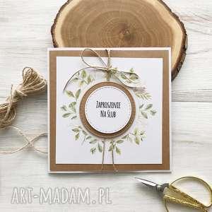 po-godzinach zaproszenia na ślub - beżowe zaproszenie, rustyklane
