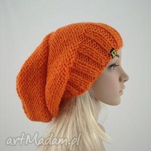 pomarańczowa czapa - czapka, czapa, zima, oryginalna, obszerna, prezent