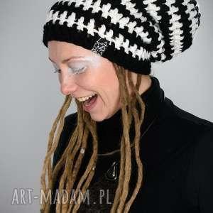hand-made czapki czapka dreadlove dual - czarny biały