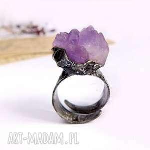 duży z ametystem - pierścionek regulowany, ametyst, ametyst fioletowy am
