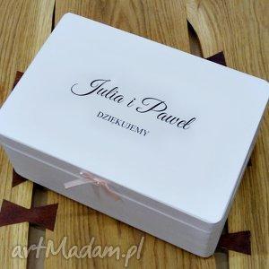 Ślubne pudełko na koperty Personalizowane Kopertówka, dziękujemy, napis
