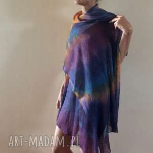 barwny duży lniany szal - szal, dzianina, len, lniany, naturalny, okrycie