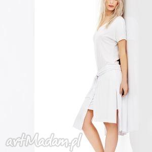 Biała sukienka na wiele okazji, asymetryczna Stripe, sukienka, biała, krotki, rekaw