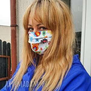 Maseczka ochronna bawelniana kolorowa folkowa kosmetyczna
