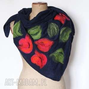 chusta damska handmade etniczna ludowa, chusta, mama, kwiaty, wełna, prezent