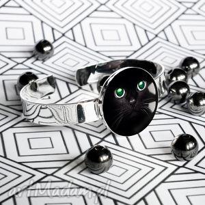 kot czarodziej - Śliczna nowoczesna bransoleta - koty, kotek, czarny, czarna, srebrna