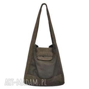 na ramię 01-0012 brązowa torba worek zakupy humming-bird maxi, duże-torby-damskie