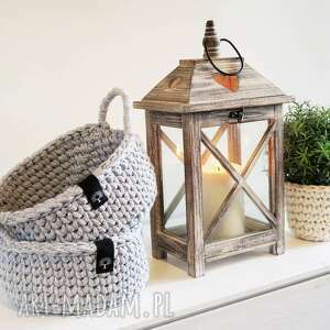bawełniany koszyk z uszami ręcznie robiony, koszyk, ze sznurka, dziergany