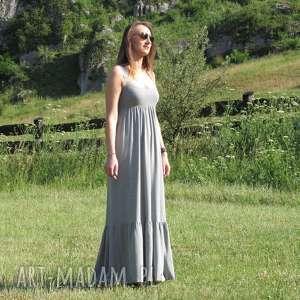 hand-made sukienki długa dzianinowa sukienka z falbaną