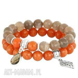 sada 2 - orange & beige - księżycowy, liść, jadeit
