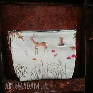 kosmetyczka zwierzątka lasu - ,las,len,lniane,leśne,lis,kosmetycza,