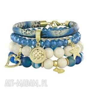 bransoletki riverside ivory 2, jadeit, agat, rzemień biżuteria, pod choinkę