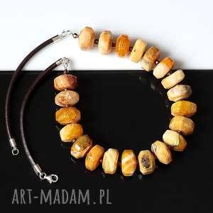 Agat żólty - naszynik naszyjniki akadi 1 agat, hematyt, srebro