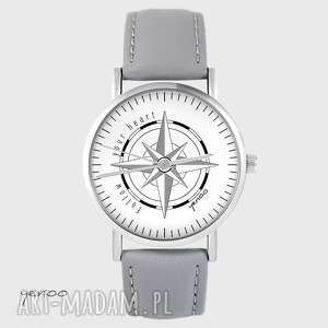 zegarek yenoo - kompas, follow your heart szary, skórzany, zegarek, kompas