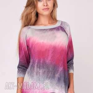 swetry sweterek cieniowany pink yarrow, print, nadruk, dzianina, ombre, sweter