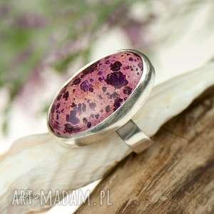 Prezent a275 pierścionek srebrny z oryginalnym jaspisem, pierścionek-srebrny