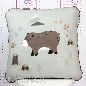 Poduszka Wild One Niedźwiadek 46x46, poduszka, jasiek, przedszkolak, wyprawka