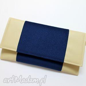 handmade kopertówka - jasny beż i granat