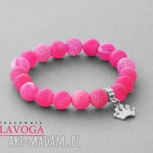 ręczne wykonanie bransoletki agate with pendant in candy pink