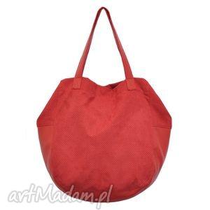 24-0008 Czerwona torebka damska worek / torba na studia SWALLOW, duże, modne, torebki