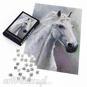 handmade puzzle puzzle - biały koń - 60x42 cm - 600 elementów
