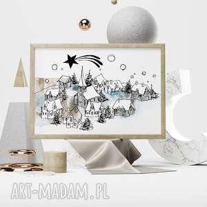 ZIMOWE MIASTECZKO... ART PRINT 30X40 CM, plakat, 30x40, domy, a3, miasto, zima