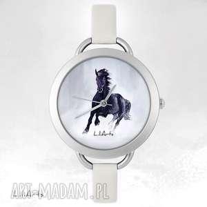 Prezent Zegarek, bransoletka - Czarny koń, zegarek, bransoletka, skórzana, koń