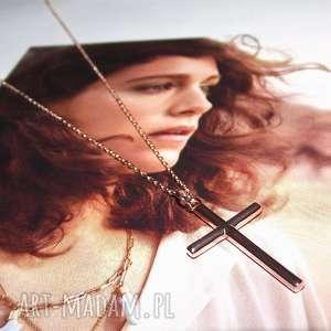 Naszyjnik różowe złoto krzyż - ,krzyżyk,celebrytka,łańcuszek,boho,krzyż,złoto,