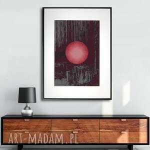grafika w ramie czerwony księżyc 30x40, ksieżyc, minimalistyczne, nowoczesne