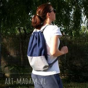 hand-made plecaki plecak vege troczek granat szary