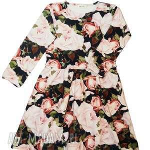 sukienka rose garden, sukienka, dziewczęca, róże, pudrowa, bawełna, prezent