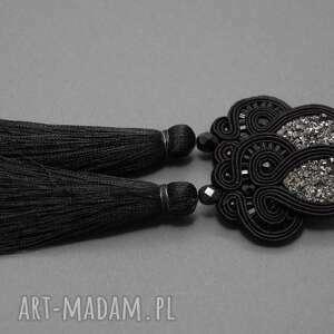 kolczyki sutasz z chwostami, sznurek, eleganckie, wiszące, długie, wieczorowe