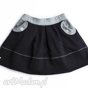 spódniczka black grey, spódnica, dziewczęca, czarna, zakłaki, kieszenie, bawełna, pod
