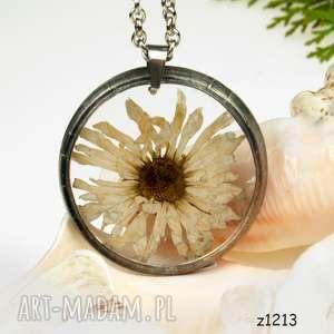 z1213 naszyjnik z suszonymi kwiatami herbarium, naszyjnikzkwiatów, medalion