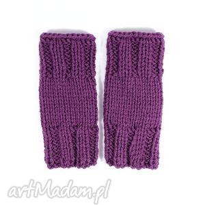 mitenki krótkie wrzosowe, mitenki, rękawiczki, dziergane, zima