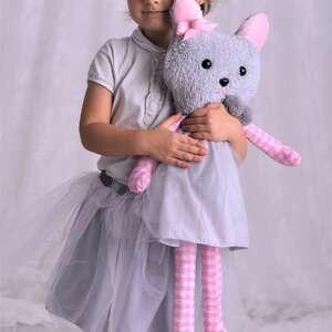 przytulanka dziecięca kot w sukience - pomysł-na-prezent, dekoracja-pokoju
