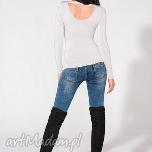 bluzka z odkrytymi plecami, t149, jasnoszara, bluzka, dzianina, wiskoza, przylegająca