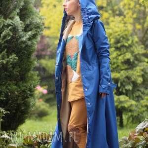 płaszcz przeciwdeszczowy chabrowy, długi, kaptur, wodoodporny