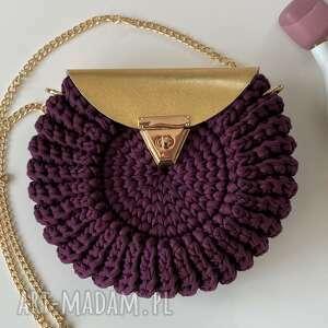 ręcznie wykonane na ramię damska torebka handmade oreo kolor śliwka