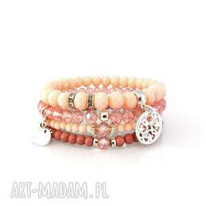 Zestaw Bransoletek - Pale Pink, zestaw, bransoletek, bransoletki, set, zawieszki